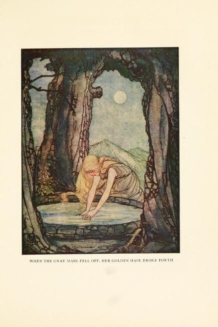 "artofnarrative: "" Rie Cramer ~ The Goose Girl at the Well ~ Grimm's Fairy Tales ~ 1927 ~ via When the gray mask fell off, her golden hair broke forth. Art And Illustration, Book Illustrations, Fantasy Kunst, Fantasy Art, Art Magique, Grimm Fairy Tales, Fairytale Art, Faeries, Art Inspo"