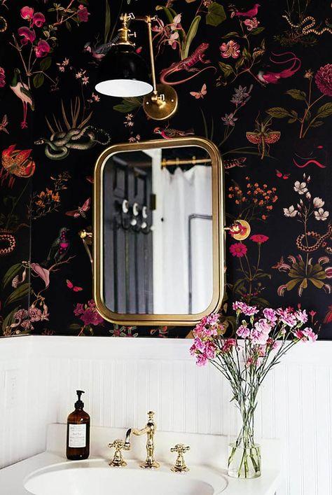 Moody Floral Bathroom Wallpaper