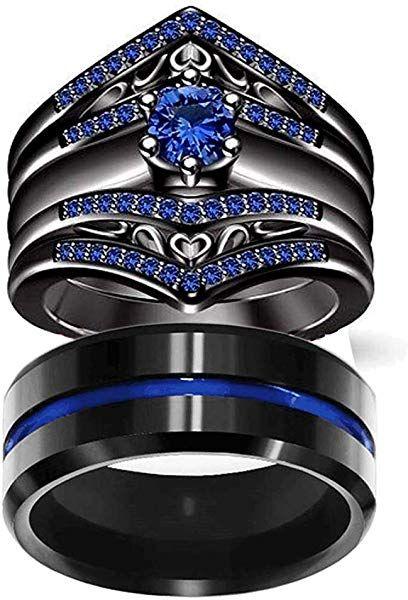 Amazon Com Loversring Couple Ring Bridal Set His Hers Women Black Gold Filled Blue Blue Wedding Ring Sets Engagement Rings Bridal Sets Wedding Ring Bands Set
