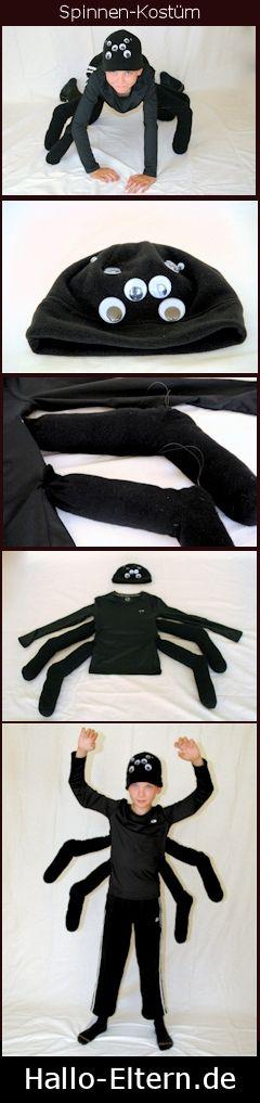 Halloween: Tolles und einfaches Kostüm. Du brauchst schwarze Kleidung, 4 schwarze Socken, schwarze Mütze und Wackelaugen.