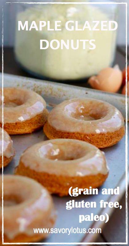 Maple Glazed Donuts (grain and gluten free, paleo) |  savorylotus.com