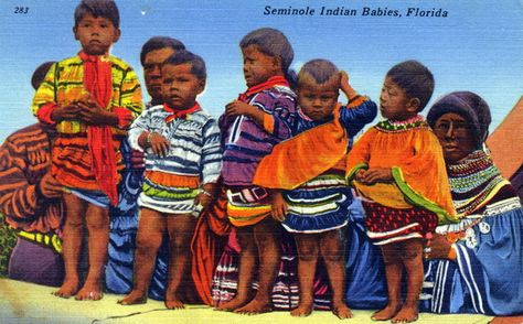 A postcard showing Seminole Indian children. | Florida Memory