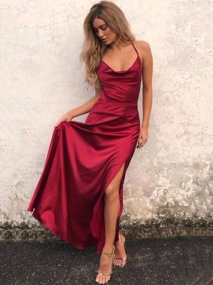 A Line Cowl Neck Ankle Length Silk Like Satin Prom Dresses With Split Front 122 00 Burgundy Prom Dress Straps Prom Dresses Red Prom Dress