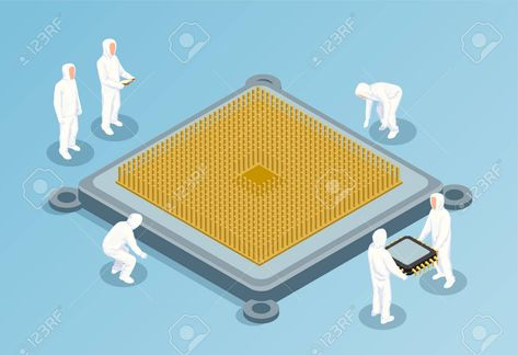 Semiconductor isometric vector illustration with big image of cpu in center and people in white technological clothing for clean rooms , #Sponsored, #big, #image, #cpu, #illustration, #Semiconductor