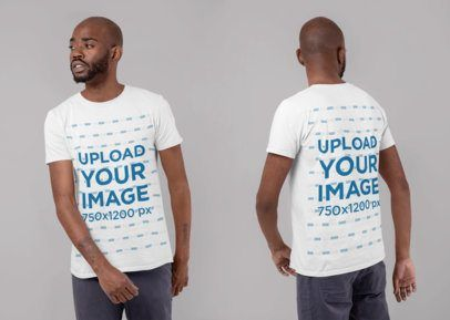 Download Placeit Front And Back T Shirt Mockup Of A Man In A Studio Shirt Mockup Tshirt Mockup Clothing Mockup