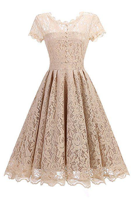 71da5d6b43db75 Changuan Damen Spitzenkleid Vintage 50er Jahr Kleid Party Cocktailkleider  Abendkleid Größe S Champagner