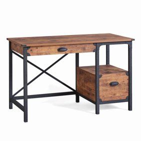 Mainstays Metro Desk With 2 Drawers Multiple Finishes For The Home In 2019 Rustic Computer Desk Rustic Desk Home Office Table