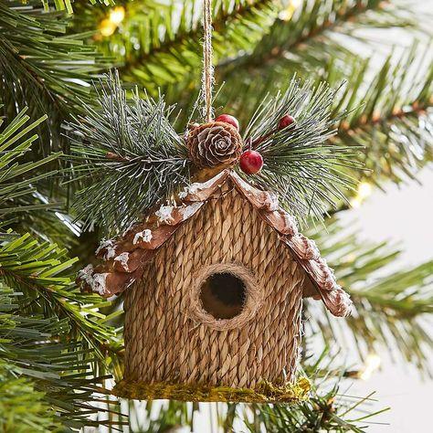 Grass Birdhouse Hanging Tree Dec Dunelm Rustic Christmas Ornaments Christmas Decorations Tree Decorations