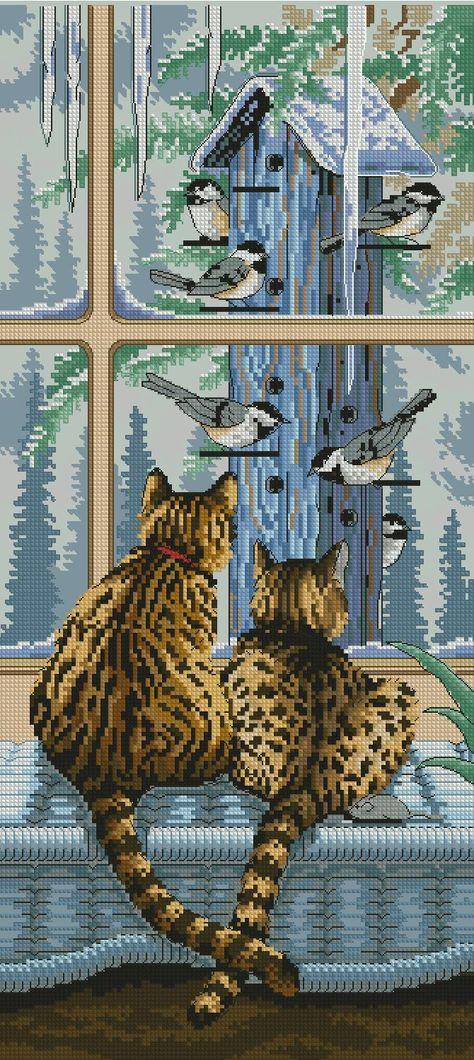 Пристальный взгляд леопарда - Схема вышивки крестом ...  Взгляд Леопарда
