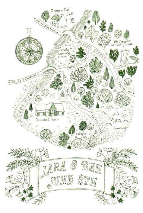 A wedding invitation hand drawn in green ink published in Thames and Hudson's 'Hand Drawn Maps - a guide for creatives'. 2017 #weddingstationery #wedding #stationery #design