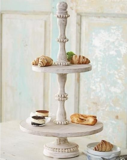 Beaded White Washed Wood 2 Tier Server Wood Tiered Stand Tiered Stand Tiered Server
