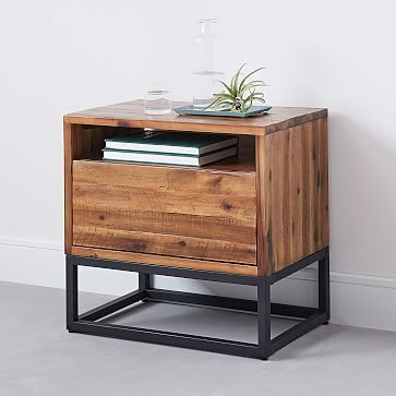 Logan Industrial Nightstand Natural Industrial Design