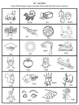 39+ Natural preschool rhyming worksheets Wonderful