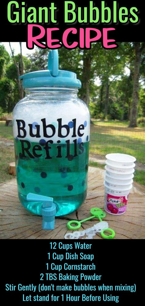 Summer Games, Crafts and Activities for Kids DIY bubbles mix refill recipe – how to make giant super bubbles mixture More from my Summer Activities for Girls 25 Summer Activities for Girls Summer Activities for girls