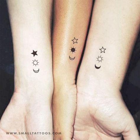 Matching crescent, sun and star temporary tattoos, perfect for best friends and siblings. Set of three plus three. Size:1.2in / 3 cm (width) This temporary tattoos are: ·Safe & non-toxic·FDA-compliant and fun for all ages Small Tattoos last on average 2-5 days. We suggest placing on oil-free areas where skin doe