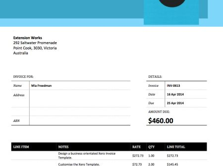 This is our Bold Blue Xero Invoice Template Itu0027s bold rerr - credit note template