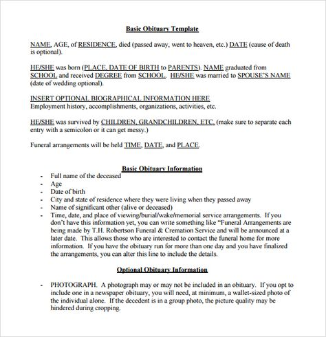 Basic Obituaries Template Brother Teaching english, Templates, Death