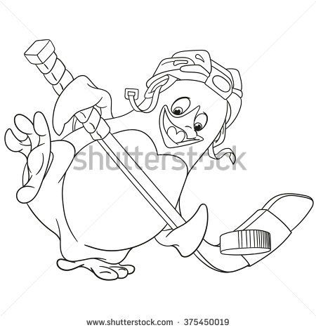 Cute Happy And Sportive Cartoon Penguin Hockey Player With A