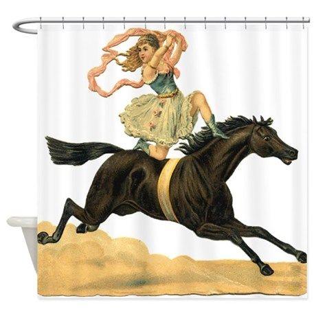 CafePress Vintage Horse /& Rider Shower Curtain 635527097