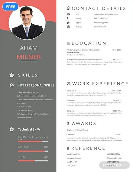 Bpo Career Resume Cv Template Word Psd Indesign Apple Pages Publisher One Page Resume Template One Page Resume Resume Template