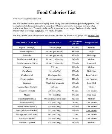 Food Calorie Chart Pdf Food Calorie Chart Calorie Chart Calorie