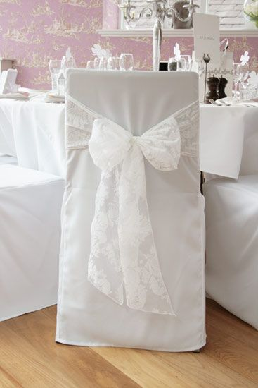Chair Cover Hire Dunfermline Cheetah Print Covers Ivory Lace Sashes Over White Wedding Ideas Pinterest Chairs And Decorations