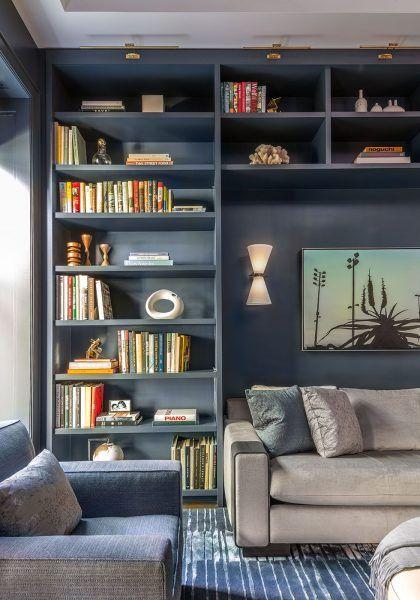 How To Style Built In Bookshelves Bookshelves Built In Blue Living Room Bookshelves