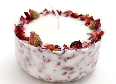 Valentinstag Bio Soja Kerze mit echten Rosen und Rosengeranium Lemon Duft