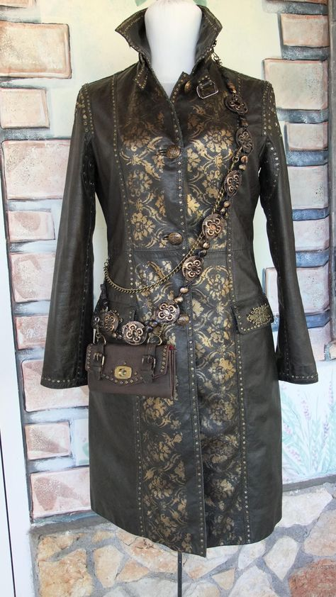 leather rivet coat and hand painting size UK 6 / size EU 42 di Tikystore su Etsy