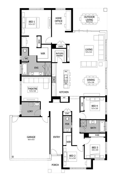 Great Ideas For Maine House Love The Mbr Mba Convert Theater And Laundry To Oversized Mud Room Access Direct Dream House Plans House Blueprints House Plans