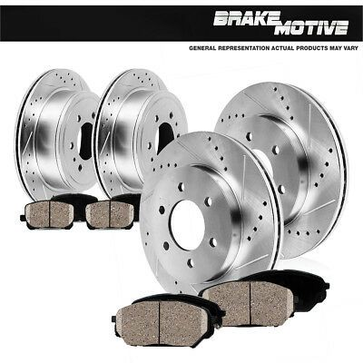 REAR DRILLED /& SLOTTED BRAKE ROTORS /& METALLIC Pads For 2003 Dodge Durango