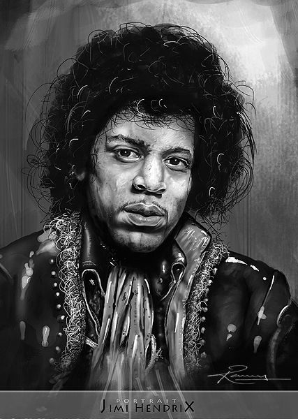 Black And White Portrait Digital Painting Jimi Hendrix An American Rock Guitarist