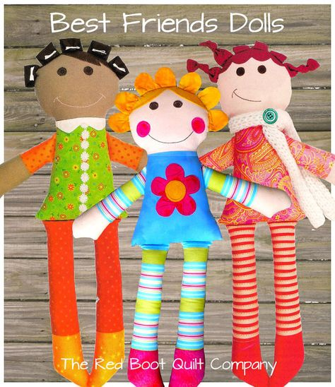 The Best Friends Dolls by The Red Boot Quilt CompanyBest Friends Dolls Pattern Gracie wants one already! Better get sewing! Do these dolls remind anyone else of Dressy Betsy and Daper Dan?reborn baby dolls toddler boy Click VISIT link above to see mo Sewing Stuffed Animals, Stuffed Toys Patterns, Sewing Crafts, Sewing Projects, Softie Pattern, Pouch Pattern, Child Doll, Kids Dolls, Fabric Toys