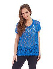 kensie blue sheer lace sweater