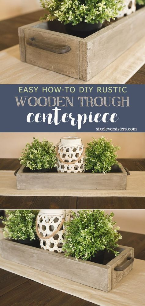 DIY Rustic Wooden Trough Centerpiece - Six Clever Sisters