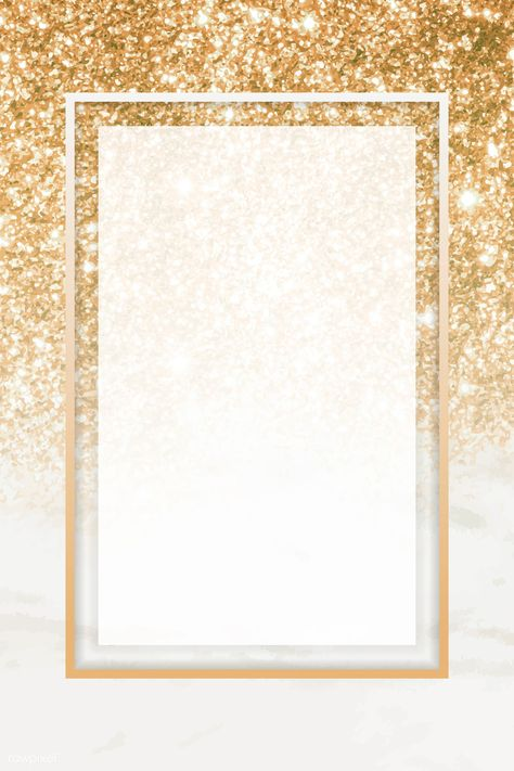 Gold rectangle frame on glittery background vector | premium image by rawpixel.com / NingZk V.