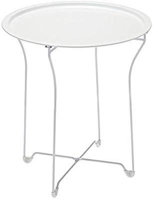 Stylish Folding Tray Table Home Furnishings Sturdy Steel Construction with Wear-Resistant Powder Coating PN38436135 in White Inc Atlantic urbSPACE Metal Side Table