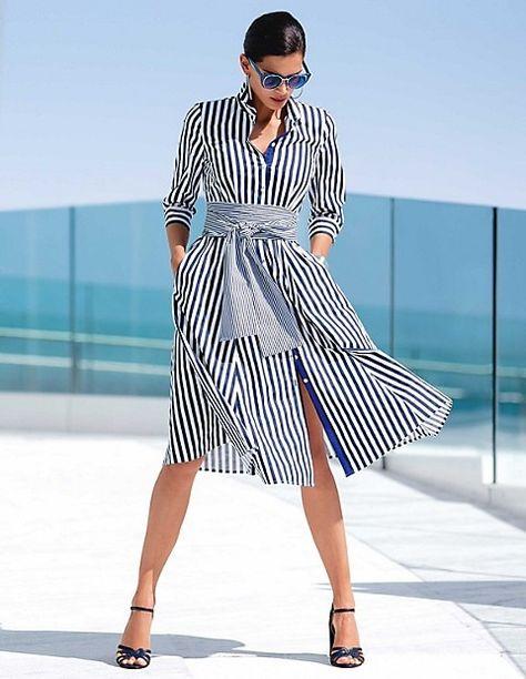Striped shirt-style dress, navy/white, blue, white   MADELEINE Fashion