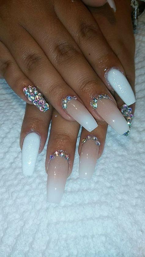 Nails Cute Design Rhinestones 41 Best Ideas Diamond Nail Designs White Acrylic Nails Nails Design With Rhinestones