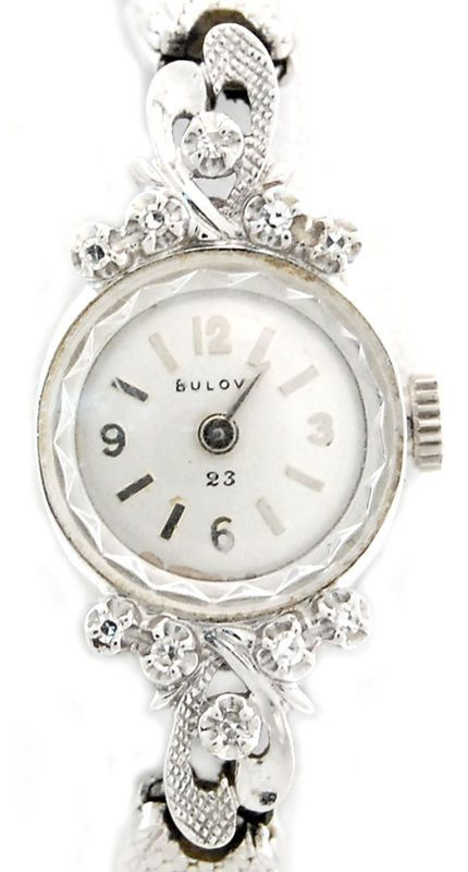 Vintage Ladies Bulova Wrist Watch in 14k w/ Diamond Accents Cal 5AT 23j