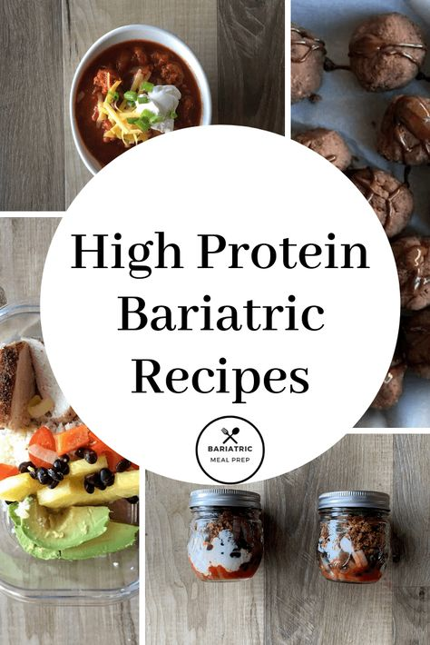 A yummy list of high protein bariatric recipe options. Pureed and soft included. This it of high protein bariatric recipes is perfect for anyone who has undergone weight loss surgery. There are soup, entree and snack ideas. High Protein Snacks, High Protein Bariatric Recipes, Bariatric Eating, High Protein Low Carb, Bariatric Surgery, Protein Foods, Protein Bars, Protein Muffins, Protein Cookies