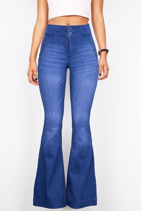 94eec19eb00 New High Waist Flared Bell Bottoms Jeans Vintage 70s Denim Stretchy Fitted  Pants  Unbranded  Flare