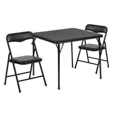 Ebern Designs Simra Kids 3 Piece Activitytable And Chair Set Colour Black In 2020 Round Table Chairs Kids Folding Table Table Chair Sets