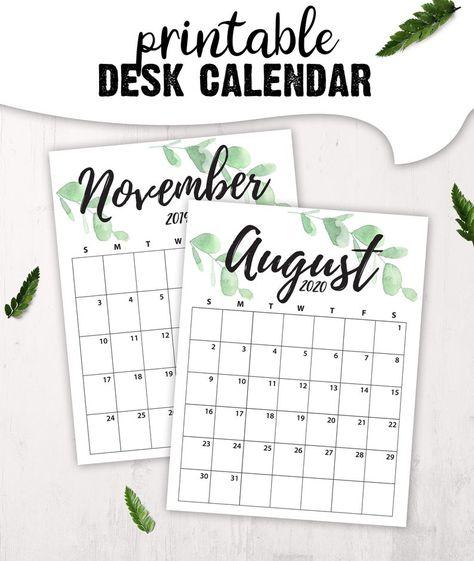 Printable Calendar Mininmalist Desk Calendar For Office Instant