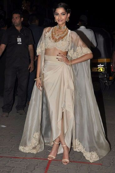 Best Indian Wedding Fashion from 2015 Sonam Kapoor in Anamika Khanna – crop top – cape – skirt – Indian fashion – Indian couture – fashion