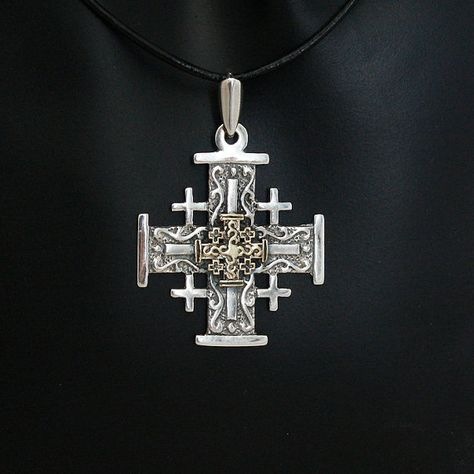 Gold Jerusalem Cross on black leather necklace. by ArtleahGifts