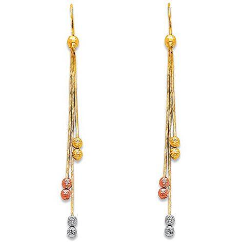 Ioka 14K Tri Color Gold Diamond Cut Chandelier Hanging Shepherds Hook Earrings