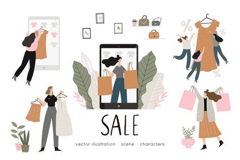 Shopping people flat illustration