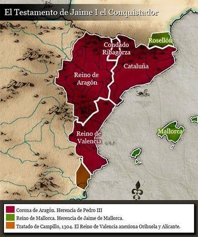 Repartición Del Territorio De Jaime I De Aragón Historia De España Mapa De España Corona De Aragon