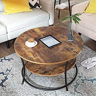 Amazon De Vasagle Couchtisch Rund Wohnzimmertisch Sofatisch Mit Ablage Einfacher Aufbau Metall In 2020 Wohnzimmertische Wohnzimmertisch Couchtisch Rund